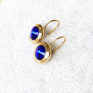 unique gorgeous earrings majestic blue and gold