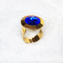 Blue and Gold unique adjustable statement ring