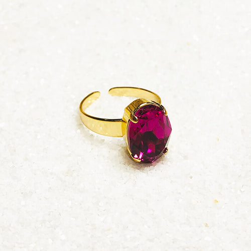 Elegant fuschia swarovski and gold statement ring