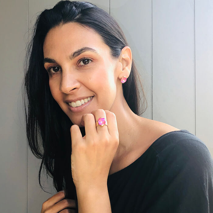 unique jewellery australia pink swarovksi crystal and gold earrings and ring
