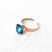 adjustable cocktail ring bermuda blue and rose gold