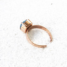 ethical adjustable cocktail ring bermuda blue and rose gold