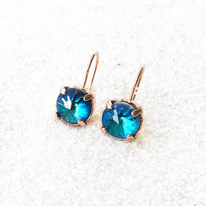 unique swarovski element earrings bermuda blue