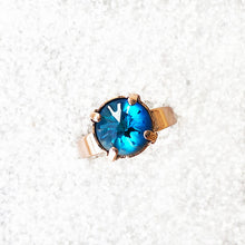 rose gold cocktail ring with bermuda blue swarovski crystal