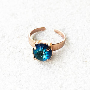 elegant cocktail ring bermuda blue and rose gold