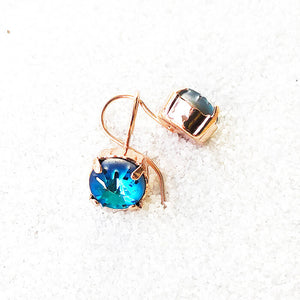 elegant earrings rose gold and blue drop