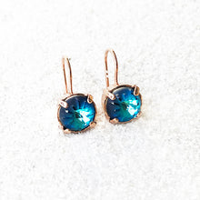 unique rose gold and blue drop earrings