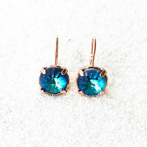 pretty earrings  rose gold and blue drop