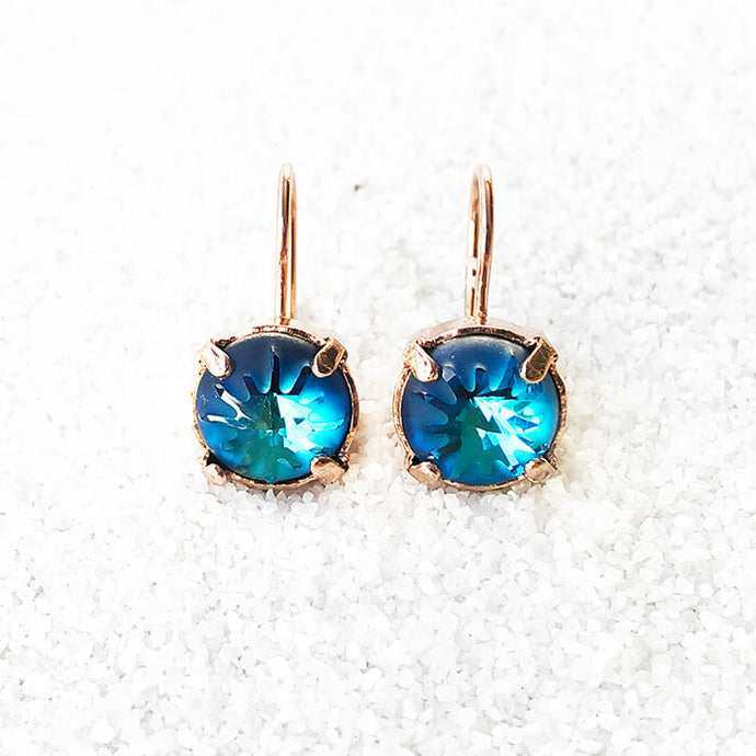 elegant earrings bermuda blue rose gold and blue swarovski crystal