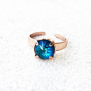 unique cocktail ring bermuda blue and rose gold