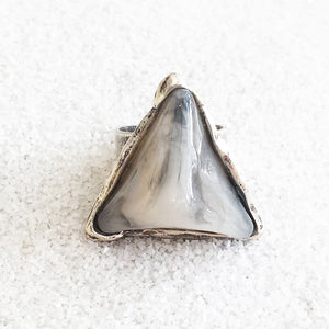 silver statement ring in antique silver and 3d marbled grey resin