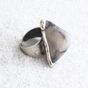 chunky statement ring in antique silver and grey marbled resin
