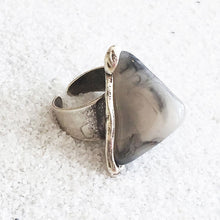 large ethical statement ring in antique silver and 3d marbled resin