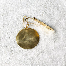 unique gold disc drop earrings
