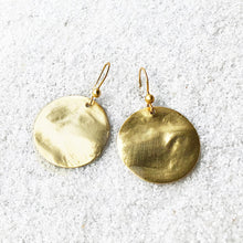 elegant gold disc hook drop earrings