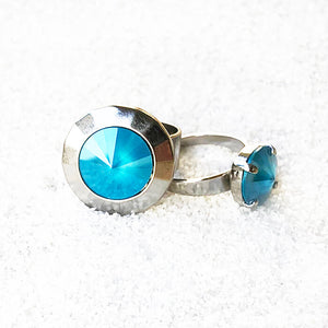 elegant statement rings in azure blue swarovski element and silver