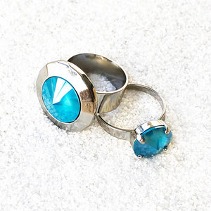 ethical rings online in elegant azure blue and silver