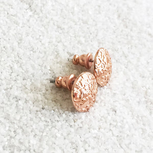 patterned rose gold stud earrings