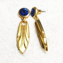 unique gold dangle earrings with blue swarovski crystal
