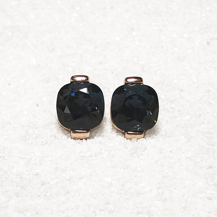 unique stud earrings black swarovski crystal and rose gold