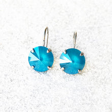 unique  silver drop earrings in azure blue swarovski