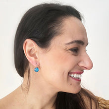 elegant azure blue swarovski and silver drop hook earrings on model