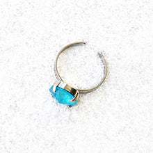 unique adjustable cocktail ring in azure blue and silver