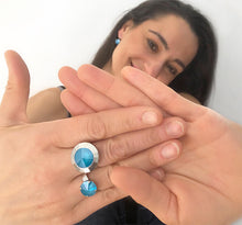 beautiful azure blue swarovski and silver statement rings