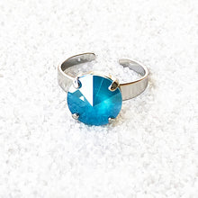 elegant cocktail ethical ring azure blue and silver