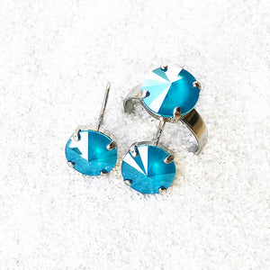 ethical jewellery online azure blue swarovski and rhodium silver