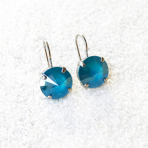 unique drop earrings  silver and azure blue swarovski
