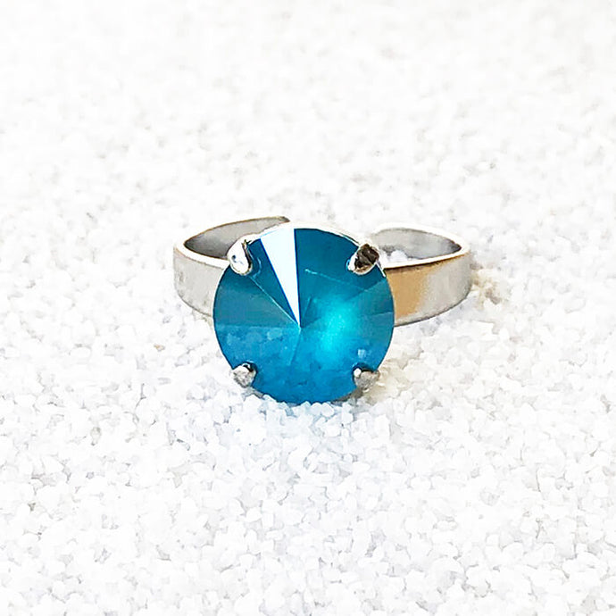 elegant silver fashion ring with azure blue swarovski elements