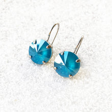unique crystal drop earrings in silver and azure blue swarovski