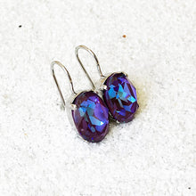purple burgundy sparkly oval drop ethical earrings unique jewellery