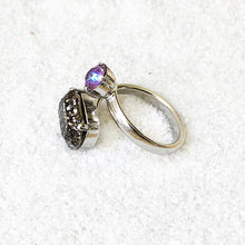 silver black and burgundy purple adjustable swarovski ring ethical rings