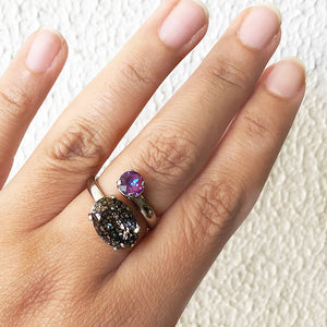 silver and burgundy purple swarovski ring on hand ethical rings