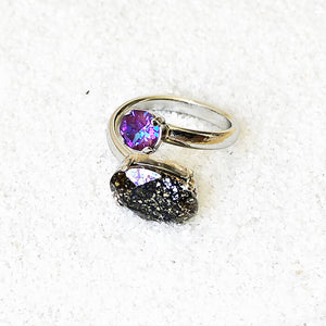 rhodium plated silver and swarovski statement ring ethical rings