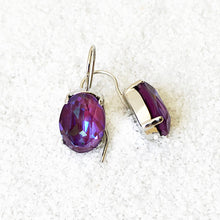 rhodium finish and burgundy purple unique crystal drop earrings