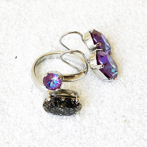 rhodium plated swarovski earrings and rings with elegant sparkly jewellery
