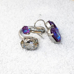 unique silver patina and burgundy purple swarovski ethical jewellery
