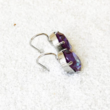 rhodium plated and burgundy purple ethical earrings unique jewellery