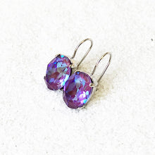 sparkly burgundy purple swarovski crystal drop earrings ethical jewellery