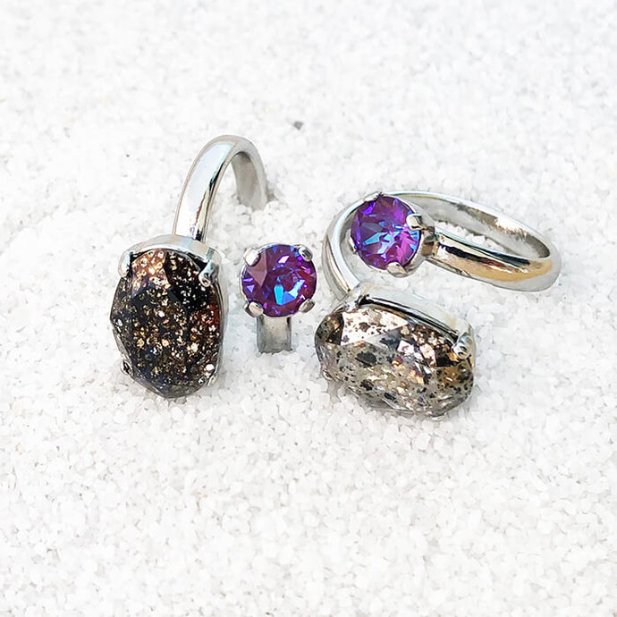 unique black patina and silver patina swarovski crystal statement ethical rings