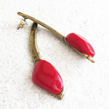 antique gold long drop earrings with red resin