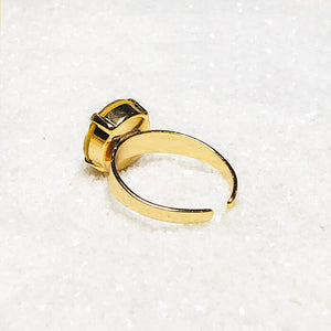 unique gold on gold swarovski crystal adjustable statement ring