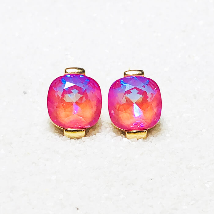 ethical pink swarovski and gold stud earrings