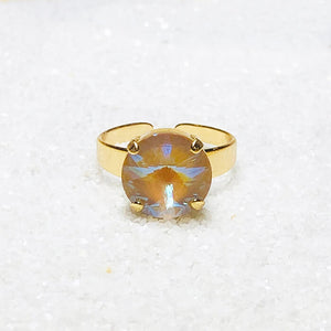 elegant gold on gold swarovski crystal statement ring