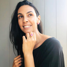 australian ethical jewellery pink swarovski elements and gold statement ring and stud earrings on model