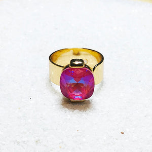 ethical pink swarovski crystal and gold statement ring