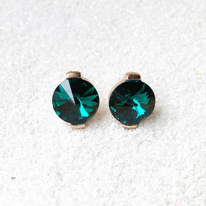 round emerald crystal stud earrings elegant jewellery